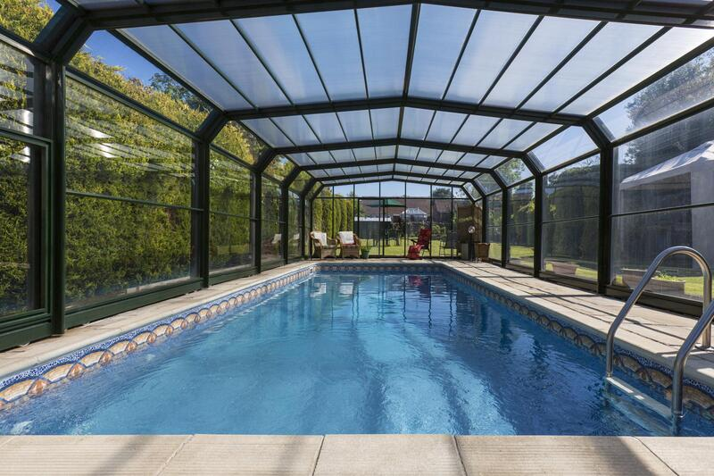 swimming pool inside cage glass